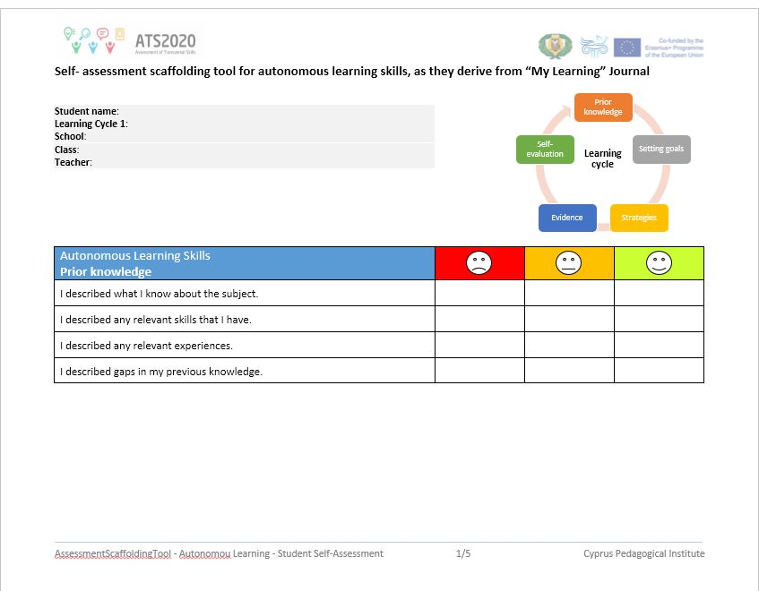 SelfAssessment Scaffolding Tool For Students Autonomous Learning